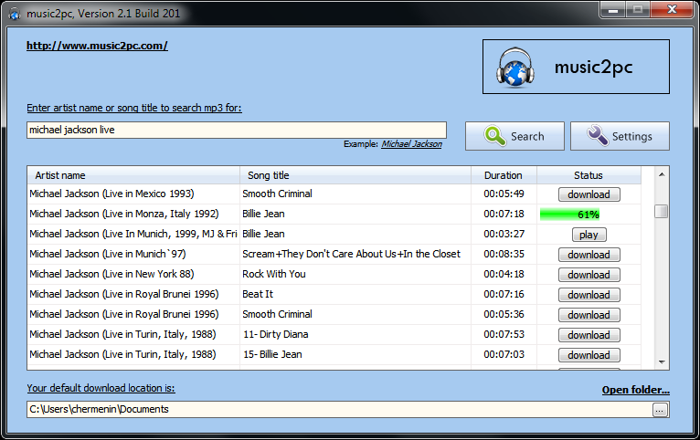 Scaricare mp3 gratis con Music2PC