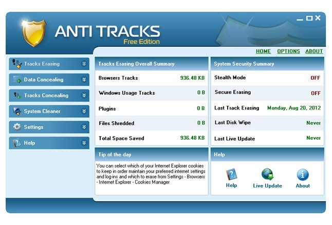 Anti Tracks Free Edition sicurezza assoluta